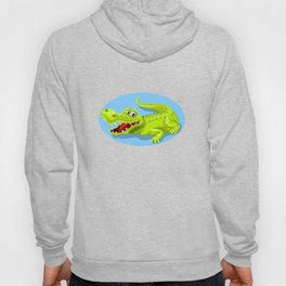 Friendly and funny crocodile cartoon Hoody