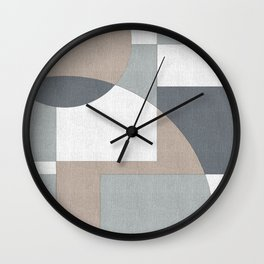 Geometric Intersecting Circles and Rectangles in Neutral Colors Wall Clock