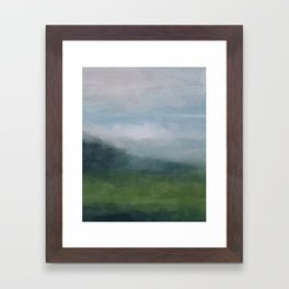 Gray Blue Navy Indigo Grass Green Abstract Painting Wall Art Prints, Nature Horizon, Modern Wall Art Framed Art Print