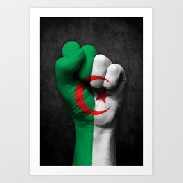 Algerian Flag on a Raised Clenched Fist Art Print