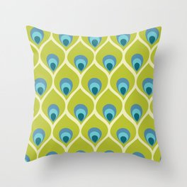 Modern Peacock Feather Blue Green Abstract Pattern Throw Pillow