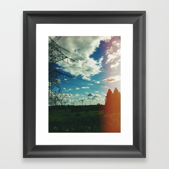 Hydro lines, forest Framed Art Print