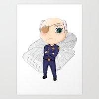 battlestar galactica Art Prints featuring Colonel Tigh | Battlestar Galactica by The Minecrafteers