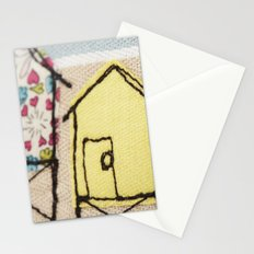 Embroidered Beach huts Stationery Cards