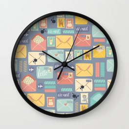 Retro styled pattern with letters and postcards Wall Clock