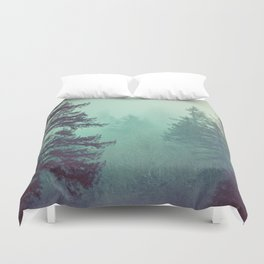 Forest Fog Fir Trees Duvet Cover