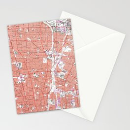 Vintage Map of South Gate California (1964) Stationery Cards