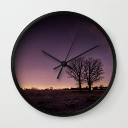 Twin Oaks Under Orion Wall Clock