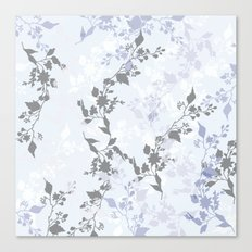 Branches and Leaves in Cobalt Grey and Blue Canvas Print