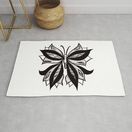 Abstract Butterfly Stipple Shaded Ink Drawing Rug