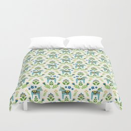 Swedish Dala Horses Teal Duvet Cover