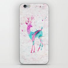 Pink and Turquoise Cute Deer Animal Watercolor Art iPhone & iPod Skin