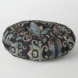 Fleur-de-lis ornament Abalone Shell and Gold Floor Pillow