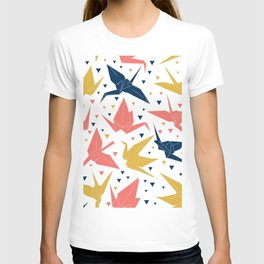 Japanese Origami paper cranes, symbol of happiness, luck and longevity, blue coral mustard T-shirt