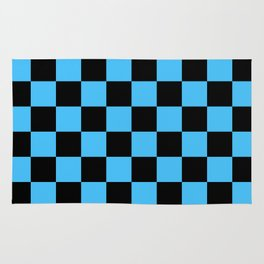 Black and Blue Checkerboard Pattern Rug