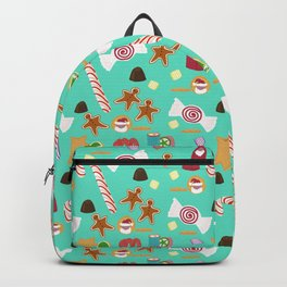 Christmas Sweeties Candies, Peppermints, Candy Canes and Chocolates on Aqua Backpack