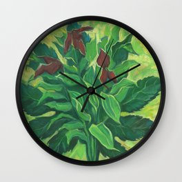 Aralia Leaf, Leaves and Orchids, Floral Pastel Wall Clock