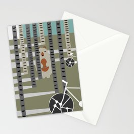 Biking in the woods Stationery Cards