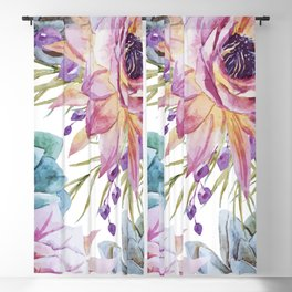 FLOWERS WATERCOLOR 19 Blackout Curtain