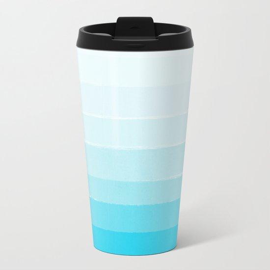 Isla - Ombre Brushstroke - Blue Turquoise, Bright, Summer, Tropical, Beach Ocean Metal Travel Mug