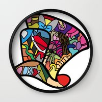 mad hatter Wall Clocks featuring Mad hatter by Ilse S
