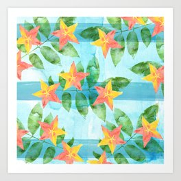 Exotic Star Fruit Pattern Art Print
