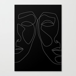 White line couple Canvas Print