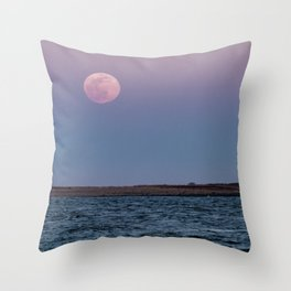 Moonrise over Milk island 3-20-2019 Throw Pillow