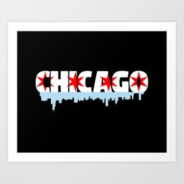 Chicago Flag Skyline Art Print