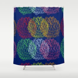 Vibrant colorful succulent plant design pattern on dark blue Shower Curtain