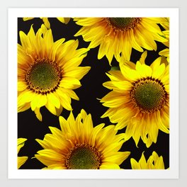 Large Sunflowers on a black background #decor #society6 #buyart Art Print