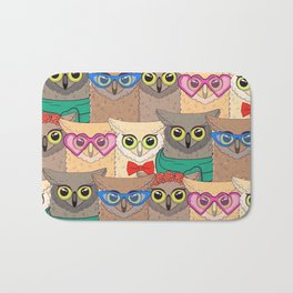 Pattern with cute owls with trendy accessories - glasses, bow-tie, flowers, scarf Bath Mat