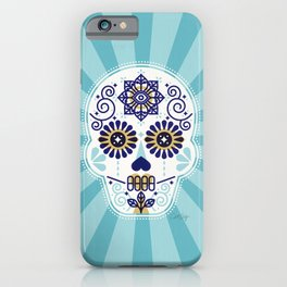Día de Muertos • Mexican Sugar Skull – Baby Blue Palette iPhone Case