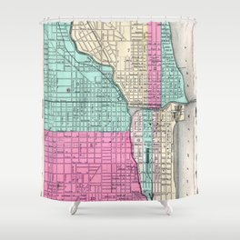 Vintage Map of Chicago IL (1855) Shower Curtain
