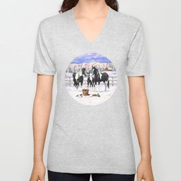 Black Pinto Horse Family Paint Horses In Snow Unisex V-Neck
