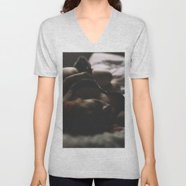 Hot sexy girl big cute breat in bed Unisex V-Neck