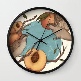Birds & Peaches Wall Clock