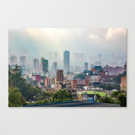 View over the misty Medellin - Colombia Canvas Print