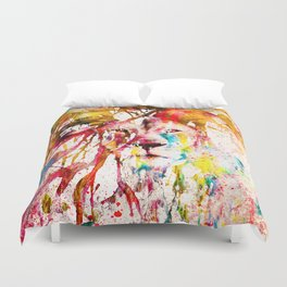 Wild Lion Sketch Abstract Watercolor Splatters Duvet Cover