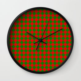 VERY SMALL green and red CHRISTMAS HARLEQUIN DIAMOND PATTERN Wall Clock