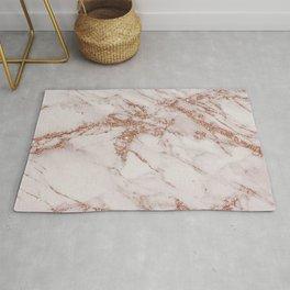 Trendy elegant rose gold glitter gray marble Rug