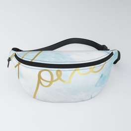 Love | Gold Frame Typography on Blue Watercolour Fanny Pack