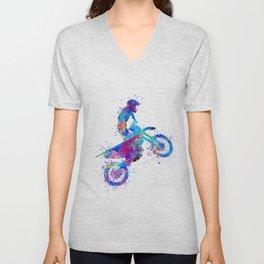 Boy Motocross Art Colorful Watercolor Gift Unisex V-Neck