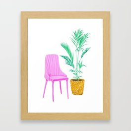 Pink Chair and Palm Tree Framed Art Print
