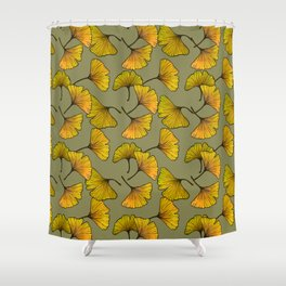 Ginkgo Leaf (Fall) - Sage Shower Curtain