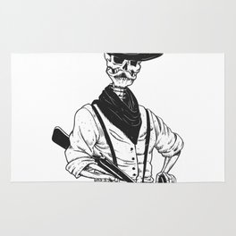 Sheriff with mustache and rifle Rug