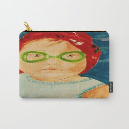 Maddie with Goggles, a painting by Karen Chapman Carry-All Pouch