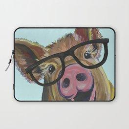 Cute Pig, Pig Art, Farm Animal Laptop Sleeve