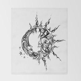Tribal Sun and Moon Throw Blanket