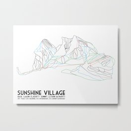 Sunshine Village, Alberta, Canada - Minimalist Trail Art Metal Print